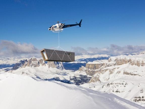Refugiul eco-temporar. Cabana din Alpi