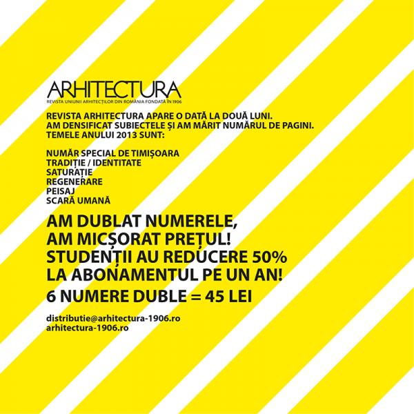 Revista ARHITECTURA - Am dublat numerele, am micsorat pretul!